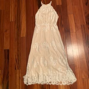 Chelsea and Violet white lace maxi dress